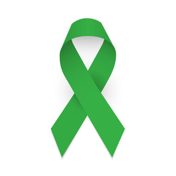Green awareness ribbon. Symbol of celebral palsy and Mental health. Isolated vector illustration on white background