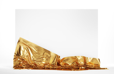 Empty screen covered with golden cloth. Isolated with clipping path.