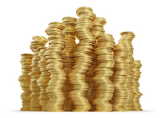 Stack of golden coins on white background. Dangerous finance concept. Clipping path included