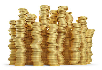 Stack of golden coins on white background. Clipping path included
