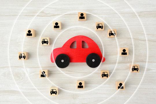 自動車の自動ブレーキ・センサーイメージ