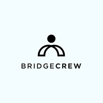 abstract bridge logo. crew icon