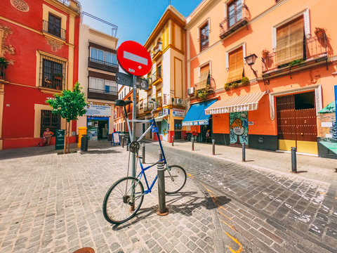 SEVILLE, SPAIN - Jul 30, 2020: Streets of the city center with more than 40 degrees