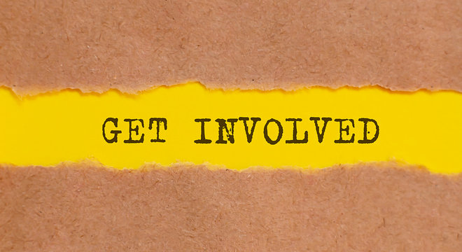 Get involved written text under torn paper.
