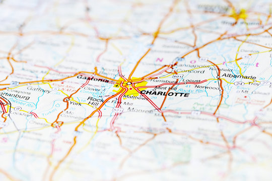Charlotte road map area. Closeup macro view