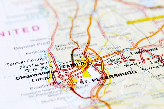 Tampa road map area. Closeup macro view