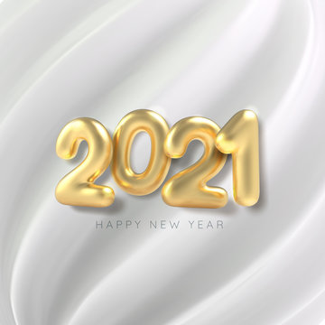 Happy new year. 3D Realistic golden inscription balloon 2021 on white silk background. Vector