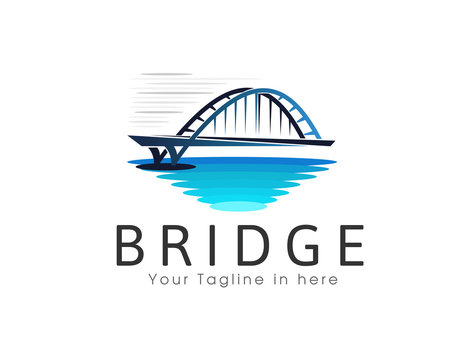 Bridge street water view logo design template illustration