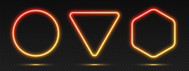 Neon gradient frames set, collection of red-yellow glowing borders isolated on a dark background. Colorful night banners, vector light effect. Circle, triangle, and hexagon, bright illuminated shapes