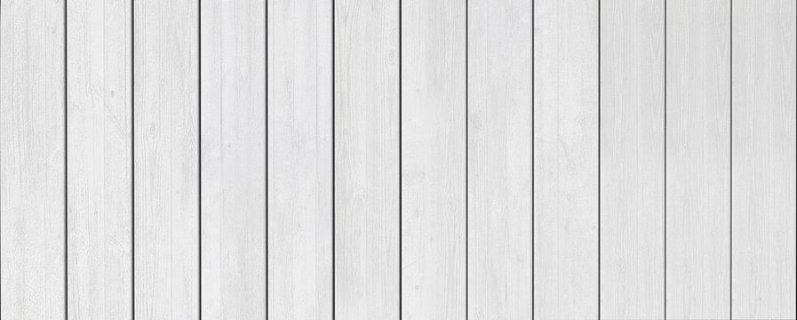 Panorama of white wooden slats. White wood texture