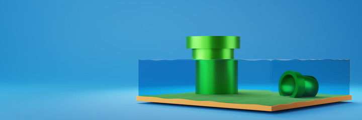 3D rendering illustration of a cross section of water , ocean, sea with green water pipe isolated on blue background