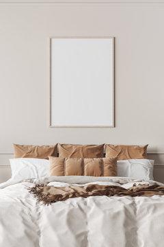 Mockup frame in contemporary bedroom design, bight home decor, 3d render