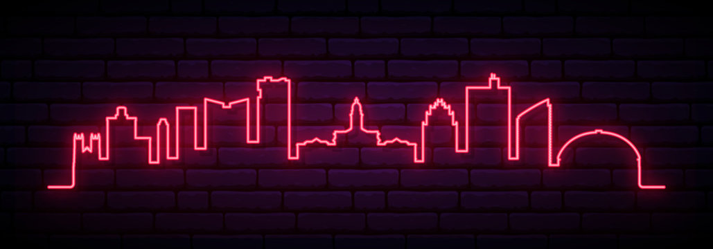 Red neon skyline of Fort Worth. Bright Fort Worth City long banner. Vector illustration.
