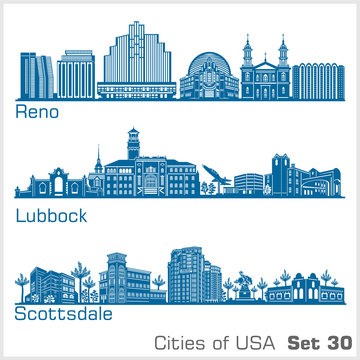 Cities of USA - Reno, Lubbock, Scottsdale. Detailed architecture. Trendy vector illustration.