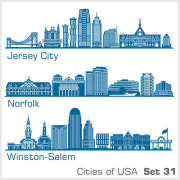 Cities of USA - Jersey City, Norfolk, Winston-Salem. Detailed architecture. Trendy vector illustration.