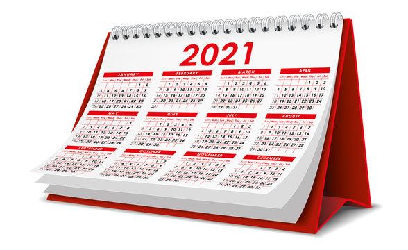 Red 2021 Calendar
