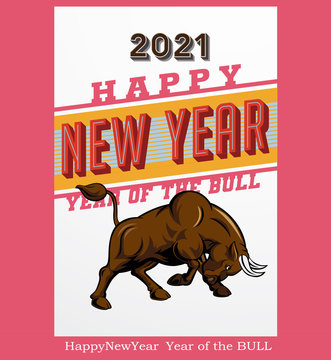 eps Vector image:Happy New Year Year of the Bull 2021