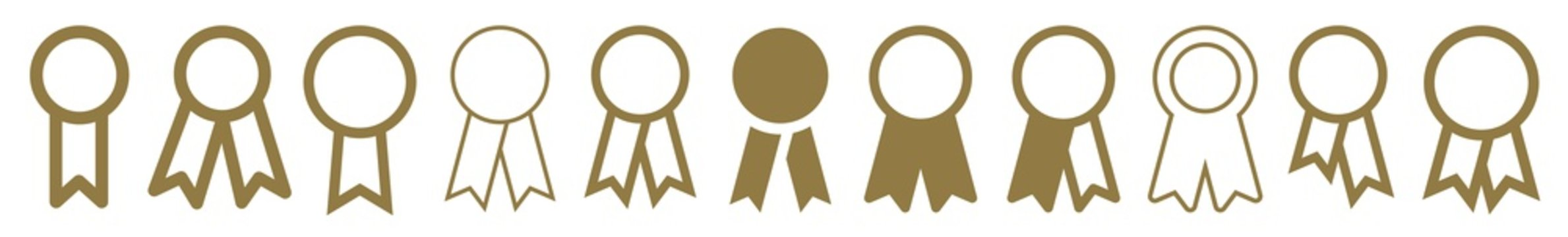 Medal Ribbon Icon Gold | Award Illustration | Badge Symbol | Prize Logo | Honor Sign | Isolated | Variations