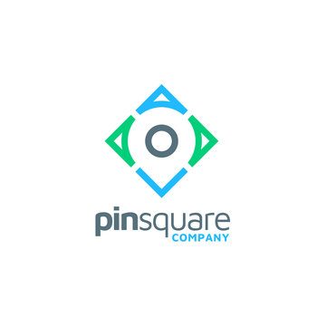 Pin Place Map Location and Square for Address Pointer Apps logo design