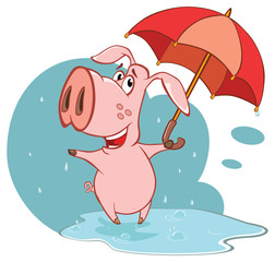 Printed kitchen splashbacks Baby room Illustration of a Cute Cartoon Character Pig and Umbrella