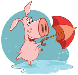 Wall Murals Baby room Illustration of a Cute Cartoon Character Pig and Umbrella