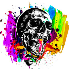 skull and bones in pop art
