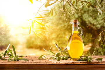 Olive oil in jug on wooden table in field sun