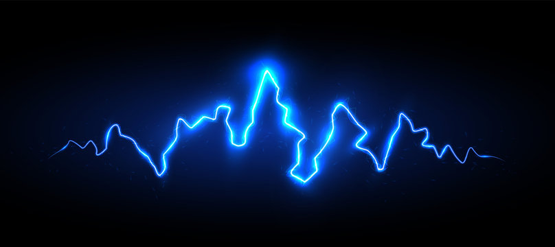 Realistic blue lightning with sparks and glow, vector illustration