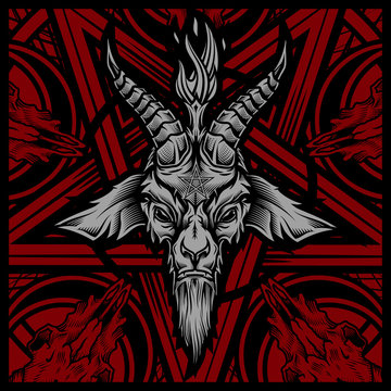 Baphomet goat head. Vector illustration in stylish engraving technique of goat head with torch light and pentagram on background. Occult symbol.