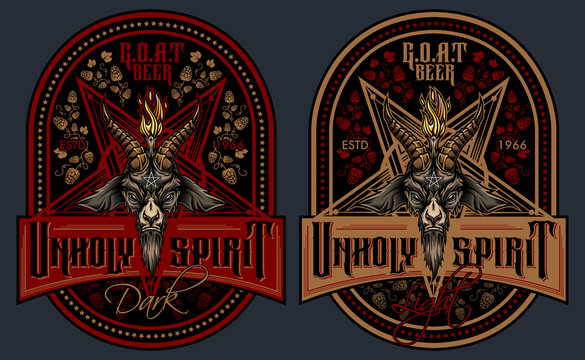 """""""Unholy Spirit"""" - beer label design. Vector illustration of Baphomet goat head in pentagram with stylish lettering and beer hops ornament. Isolated on gray background."""