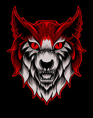 Illustration vector roar wolf hand drawn on black background.