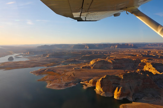 Lake Powell photographed from the plane.