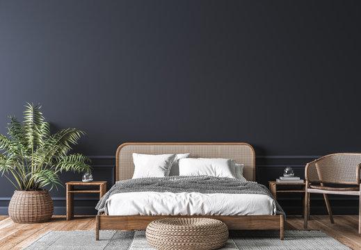 Dark bedroom interior mockup, wooden rattan bed on empty dark wall background, Scandinavian style, 3d render