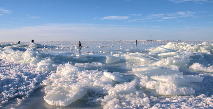 Winter landscape of the Riga bay covered with ice floes and people walking on the ice in Latvia, Europe