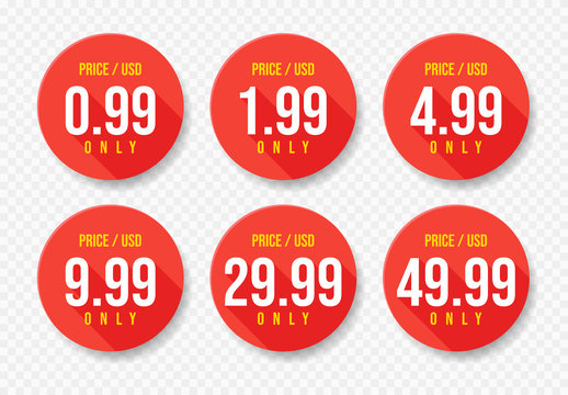 Red USD Price stickers set. Sale 0.99 1.99 4.99 9.99 29.99 and 49.99 Dollars Only Offer Badge Sticker Design in Flat Style. Vector