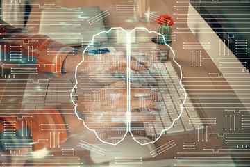 Man typing on keyboard background with brain hologram. Concept of big Data. Double exposure. Papier Peint