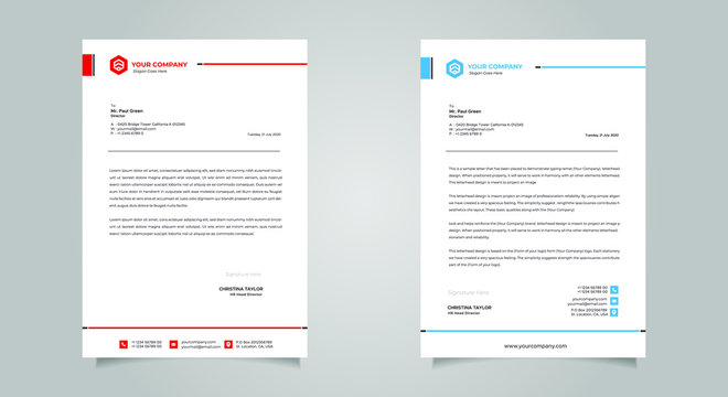 Business style letter head templates for your project design, Vector illustration