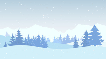 Winter landscape. Winter Forest, Background in Flat Design