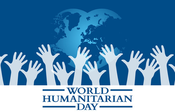 Flat Design Illustration Of World Humanitarian Day Template, Design Suitable For Posters, Backgrounds, Greeting Cards, World Humanitarian Day Themed
