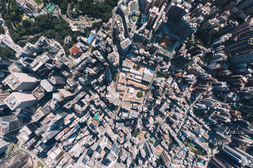 Fotomurales - Aerial scenery panoramic view from drone of Hong Kong modern skyscrapers district. Top view, urban downtown with corporate business and financial enterprise buildings. Metropolitan city infrastructure