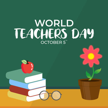 Flat Design Illustration Of World Teachers Day Template, Design Suitable For Posters, Backgrounds, Greeting Cards, World Teachers Day Themed