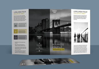 Four Fold Brochure Layout with Gold Accents