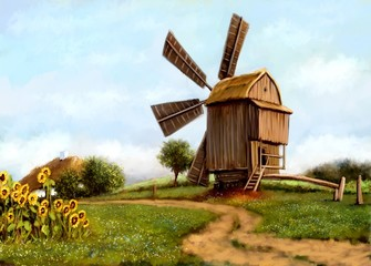 Oil paintings rural landscape, fine art, old windmill in the countryside.