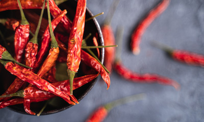 Top view of spicy red hot chili peppers placed in bowl on table
