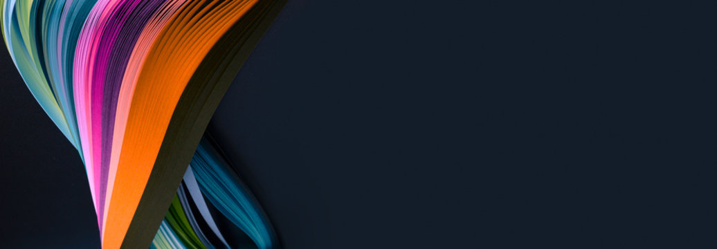 Rainbow color strip wave paper. Abstract texture horizontal background.