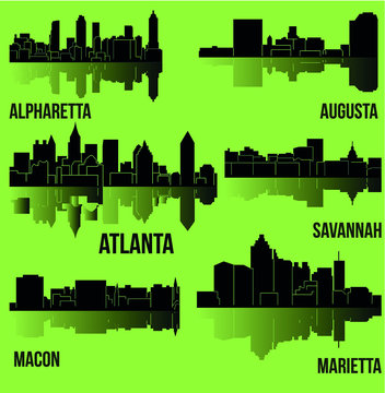 6 City silhouette in Georgia (Atlanta, Augusta, Alpharetta, Savannah, Macon, Marietta)