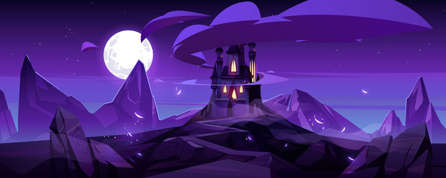 Magic castle at night on mountain, fairytale palace with turrets and rocky road under purple sky with full moon and clouds in sky. Fantasy fortress, medieval architecture. Cartoon vector illustration