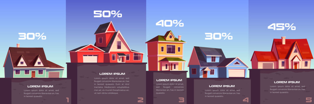 Business infographic of real estate sale and rent. Vector column chart with cartoon illustration of suburb houses and percents. Apartment, residential buildings and cottages for sale