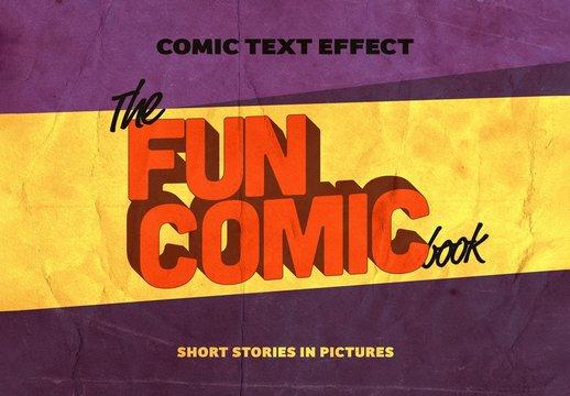 Retro 3D Comic Text Effect Mockup