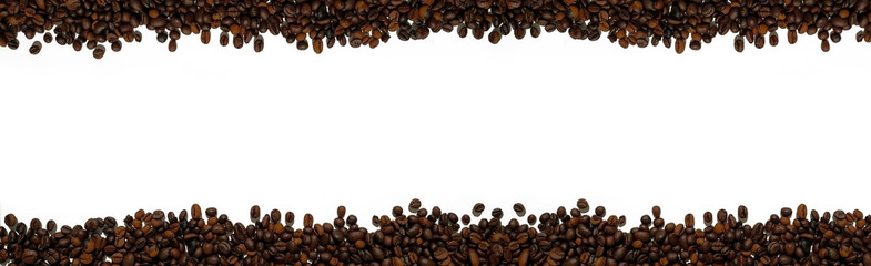 Coffee beans isolated on a white background with a copy space. Long horizontal banner background